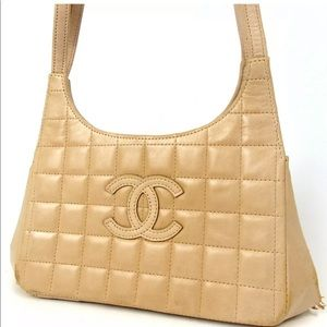 💯Auth CHANEL Patent Chocolate Bar Shoulder Bag